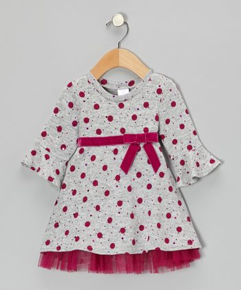 Gray & Fuchsia Glitter Polka Dot Dress - Infant