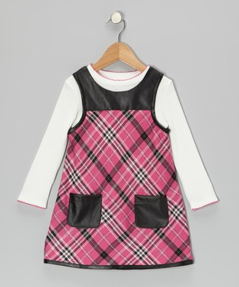 Pink Plaid Dress & White Tee - Toddler & Girls