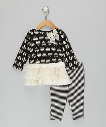 Cream & Black Heart Dress & Leggings - Infant
