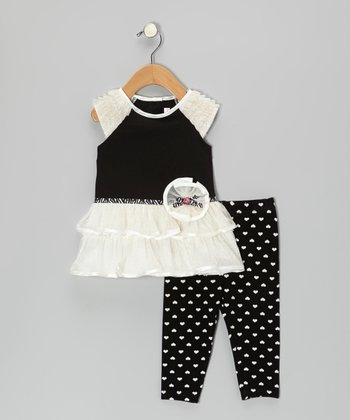 Ivory & Black Raglan Dress & Heart Leggings - Infant