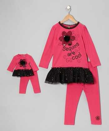 Fuchsia 'Sequins Are Cool' Tunic Set & Doll Outfit - Girls