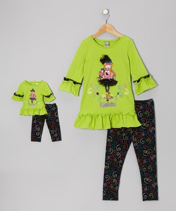 Lime & Black 'Fabulistas' Ruffle Tunic Set & Doll Outfit - Girls