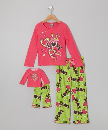Fuchsia & Lime 'Love' Heart Pajama Set & Doll Outfit - Girls