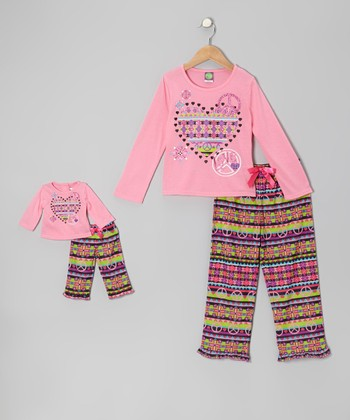 Pink Heart Pajama Set & Doll Outfit - Girls