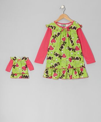 Green & Pink 'Love' Nightgown & Doll Outfit - Girls