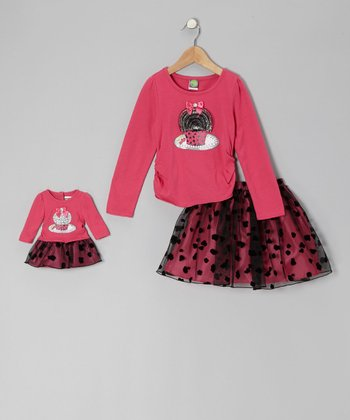 Fuchsia & Black Cupcake Tee Set & Doll Outfit - Girls