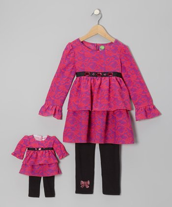 Pink & Black Rose Tunic Set & Doll Outfit - Toddler