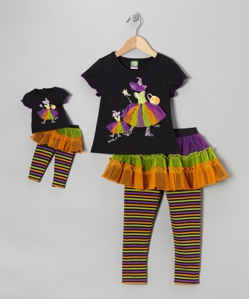 Orange Witch Skirted Leggings Set & Doll Outfit - Girls