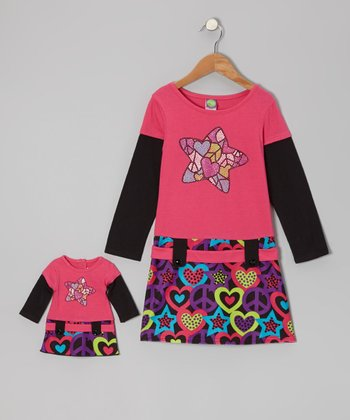 Pink & Black Star Dress & Doll Outfit - Toddler & Girls