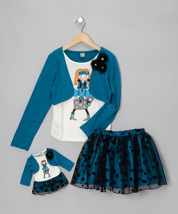 Turquoise Dolly Layered Top Set & Doll Outfit - Girls
