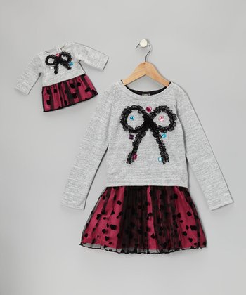 Gray Bow Dress & Doll Outfit - Girls