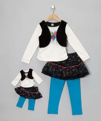 Black & Turquoise Skirted Leggings Set & Doll Outfit - Girls