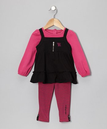 Black & Fuchsia Layered Tunic & Leggings - Infant, Toddler & Girl