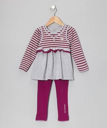 Gray Stripe Tunic & Magenta Leggings - Infant & Girls