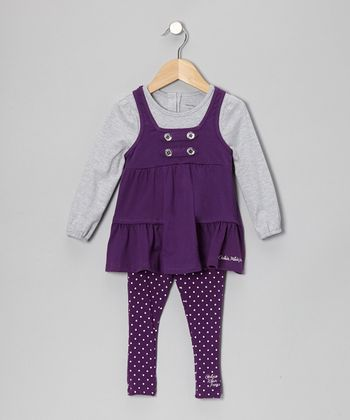 Purple & Gray Layered Tunic & Leggings - Girls