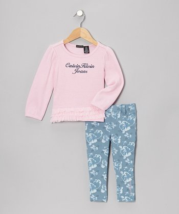 Pink Thermal Top & Blue Floral Jeggings - Infant, Toddler & Girls