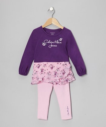 Purple Floral Tunic & Pink Leggings - Infant, Toddler & Girls