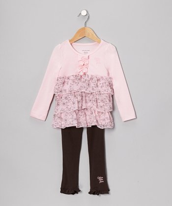 Pink Floral Ruffle Tunic & Leggings - Infant