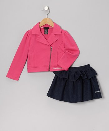Pink Zip-Up Jacket & Ruffle Denim Skirt - Infant, Toddler & Girls