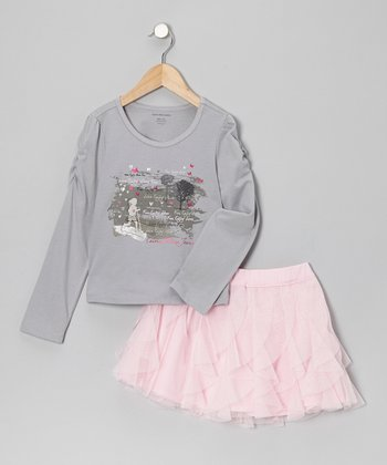 Gray Butterfly Tee & Pink Ruffle Skirt - Infant, Toddler & Girls