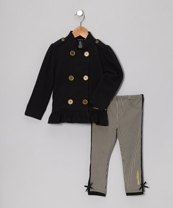 Black Ruffle Jacket & Stripe Jeggings - Infant