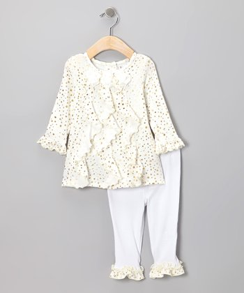 Ivory Sparkle Dress & Ruffle Leggings - Infant