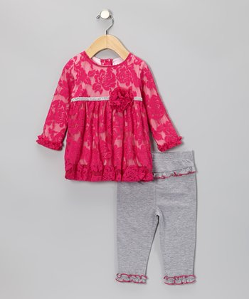 Pink Lace Dress & Ruffle Leggings - Infant
