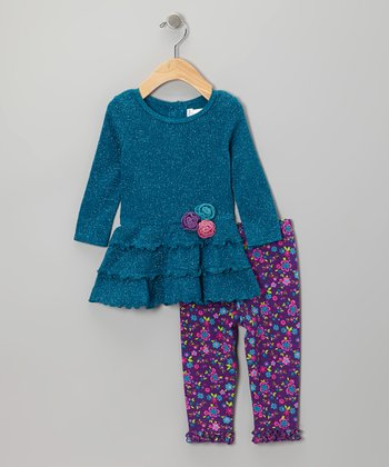 Teal Sparkle Tunic & Ruffle Leggings - Infant