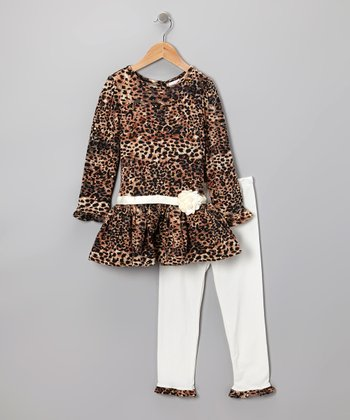 Brown Leopard Dress & Leggings - Infant