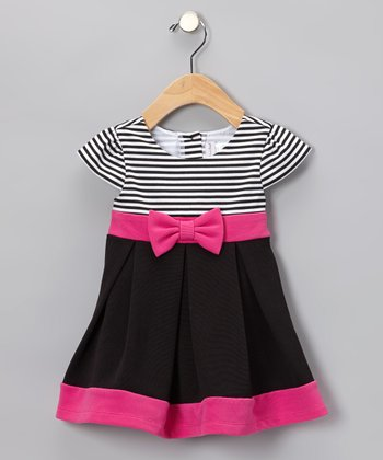 Pink & Black Stripe Dress - Infant