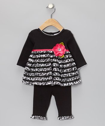 Black Leopard Tier Tunic & Leggings - Infant