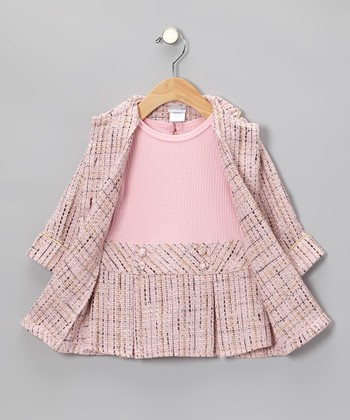 Pink Bouclé Dress & Coat - Toddler & Girls
