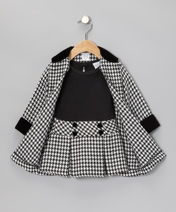 Black Houndstooth Dress & Coat - Toddler & Girls