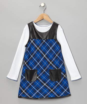 Blue Plaid Dress & White Tee - Toddler & Girls