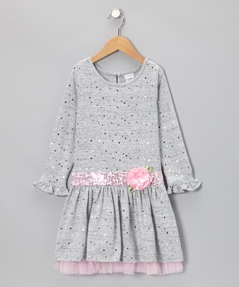 Gray Sequin Drop-Waist Dress - Toddler & Girls