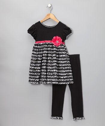 Black & Pink Tier Dress & Leggings - Toddler & Girls