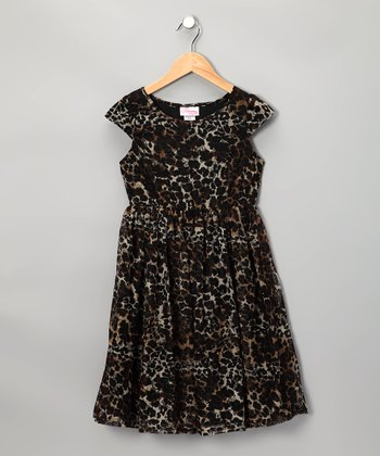 Brown Cheetah Lace Dress - Girls