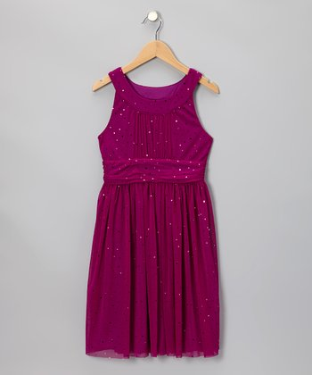 Fuchsia Chiffon Sparkle Dress - Girls & Girls' Plus