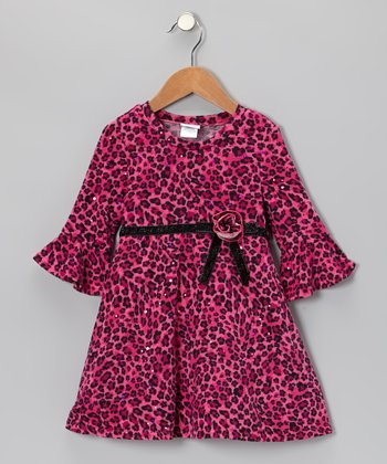Pink & Black Cheetah Dress - Infant, Toddler & Girls