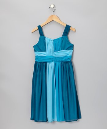 Aqua Three-Tone Dress - Girls