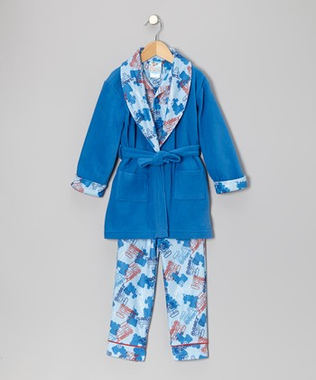 School Blue Choo-Choo Train Bathrobe Set - Infant, Toddler & Boys