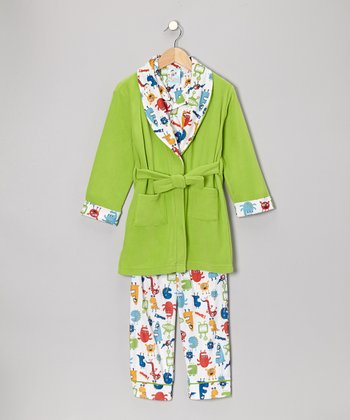 Greenery Monster Mash Bathrobe Set - Infant, Toddler & Boys