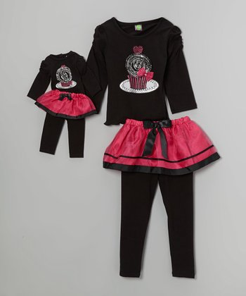Black Cupcake Skirted Leggings Set & Doll Outfit - Girls