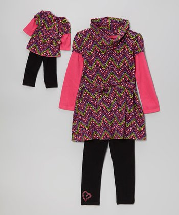 Pink & Black Zigzag Layered Tunic Set & Doll Outfit - Girls