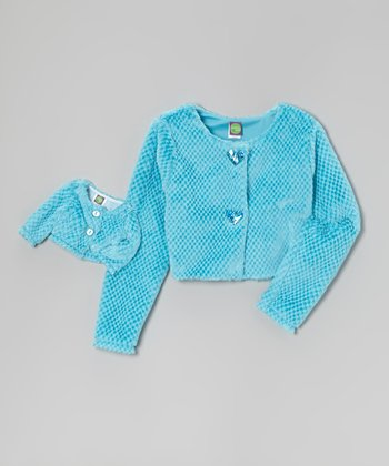 Blue Faux Fur Jacket & Doll Jacket - Girls