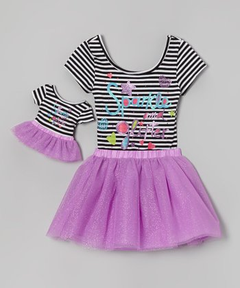 Black & White Stripe 'Sparkle' Leotard Set & Doll Outfit - Girls