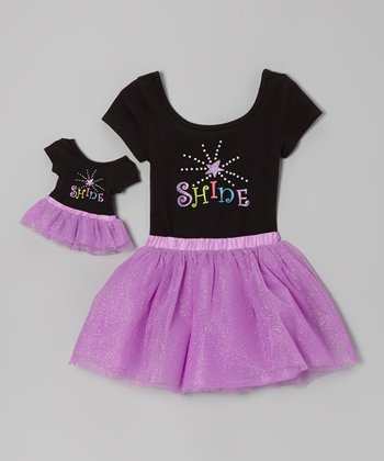 Black & Purple 'Shine' Leotard Set & Doll Outfit - Girls