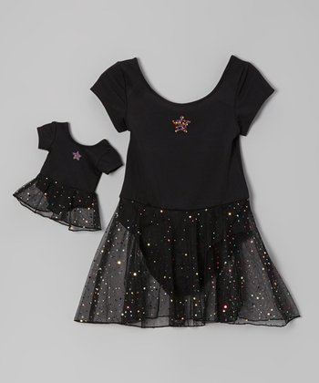 Black Star Rhinestone Skirted Leotard & Doll Outfit - Girls