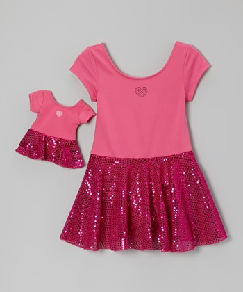 Fuchsia Heart Sequin Skirted Leotard & Doll Outfit - Girls