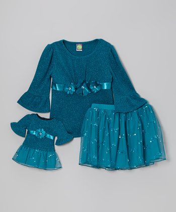Blue Sequin Skirt Set & Doll Outfit - Girls